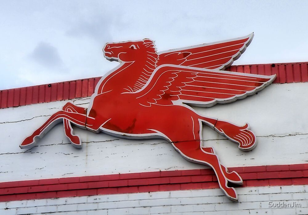 Red Pegasus, Mobil Oil Sign by SuddenJim