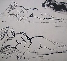 Nude sketch of a woman by atelierwilfried