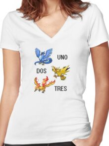 ArticUNO ZapDOS MolTRES Women's Fitted V-Neck T-Shirt