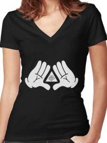 illuminati Mickey hands Women's Fitted V-Neck T-Shirt