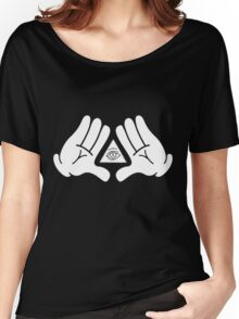 illuminati Mickey hands Women's Relaxed Fit T-Shirt