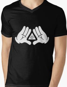 illuminati Mickey hands Mens V-Neck T-Shirt