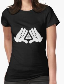 illuminati Mickey hands Womens Fitted T-Shirt