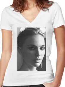 Natalie Portman Women's Fitted V-Neck T-Shirt