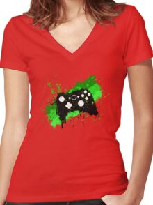 Box Graffiti Controller Women's Fitted V-Neck T-Shirt
