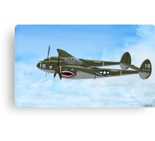 Top Hatted Skull P-38 Lightning Canvas Print