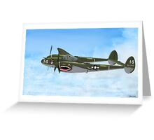 Top Hatted Skull P-38 Lightning Greeting Card