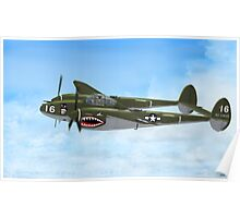 Top Hatted Skull P-38 Lightning Poster