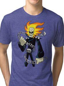 Flaming Skull Biker Tri-blend T-Shirt
