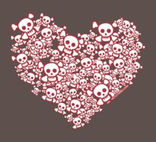Red And White Emo Skull Heart One Piece - Short Sleeve