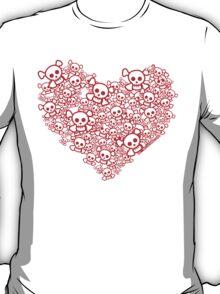 Red And White Emo Skull Heart T-Shirt