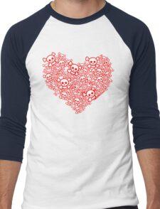 Red And White Emo Skull Heart Men's Baseball ¾ T-Shirt