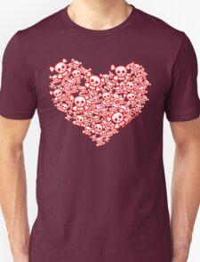 Red And White Emo Skull Heart Unisex T-Shirt