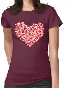 Red And White Emo Skull Heart Womens Fitted T-Shirt