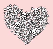 White Emo Skull Love Kids Tee