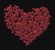 Cute Emo Skull Heart One Piece - Long Sleeve