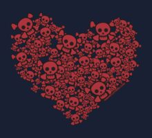 Cute Emo Skull Heart Kids Clothes
