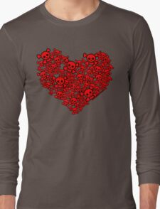 Cute Emo Skull Heart Long Sleeve T-Shirt