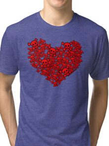 Cute Emo Skull Heart Tri-blend T-Shirt
