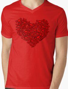 Cute Emo Skull Heart Mens V-Neck T-Shirt