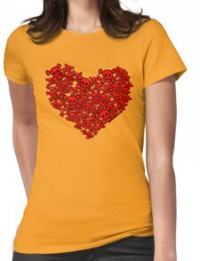 Cute Emo Skull Heart Womens Fitted T-Shirt