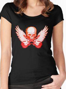 Rock Music Skull Guitar Women's Fitted Scoop T-Shirt