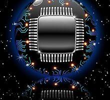 Electronic Motherboard Circuit Sphere Globe by BluedarkArt