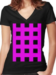 Pink And Black Crosses Women's Fitted V-Neck T-Shirt