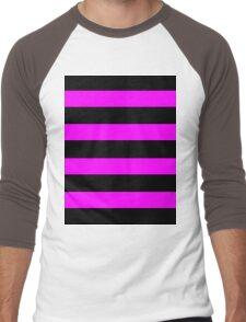 Pink And Black Stripes Men's Baseball ¾ T-Shirt