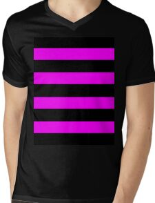 Pink And Black Stripes Mens V-Neck T-Shirt