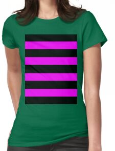 Pink And Black Stripes Womens Fitted T-Shirt