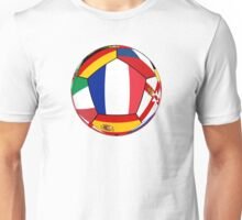 Soccer ball with flags - flag of France in the center Unisex T-Shirt