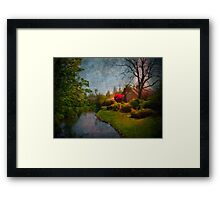 Cottage with Rhodies and Stream Framed Print