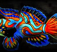 Manderin Fish on Black by Phyllis Beiser