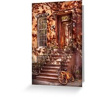 Bike - NY - Greenwich Village - An orange bike  Greeting Card