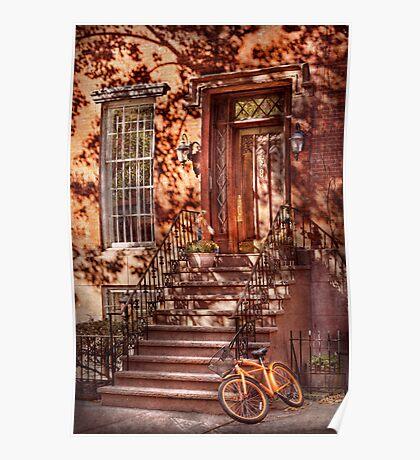 Bike - NY - Greenwich Village - An orange bike  Poster