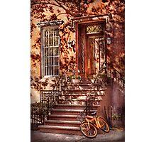 Bike - NY - Greenwich Village - An orange bike  Photographic Print
