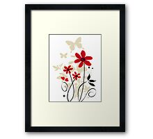 Red flowers and butterflies Framed Print