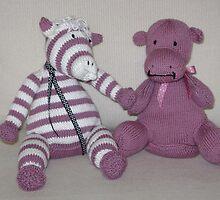 Zebra Foal & Hippo Calf in Pink! by Dionne Meade