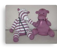 Zebra Foal & Hippo Calf in Pink! Canvas Print