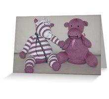 Zebra Foal & Hippo Calf in Pink! Greeting Card