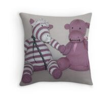 Zebra Foal & Hippo Calf in Pink! Throw Pillow