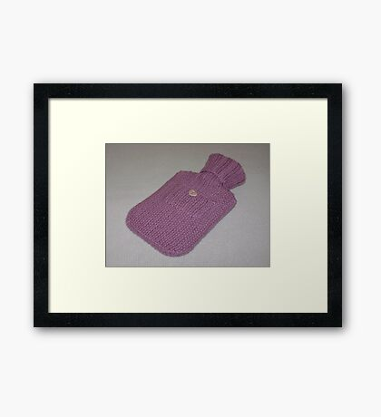 Pink Knitted Hot-Water Bottle Cover Framed Print