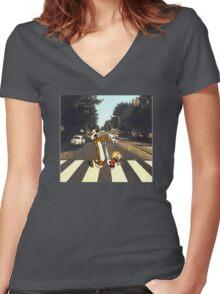 Calvin & Hobbes Meet the Beatles Women's Fitted V-Neck T-Shirt