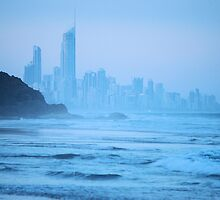 Gold Coast Skyline in Blue by Emily McAuliffe
