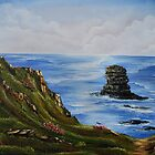 Kilkee Cliffs with Sea Pinks - Oil painting by Avril Brand