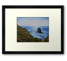 Kilkee Cliffs with Sea Pinks - Oil painting Framed Print