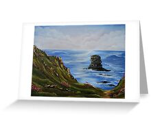 Kilkee Cliffs with Sea Pinks - Oil painting Greeting Card