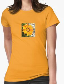 Bright Orange Gazania Flower with Snail Womens Fitted T-Shirt