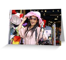 Vivi in the Pink Hat Greeting Card